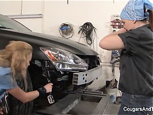 slutty lesbians having joy in the public garage