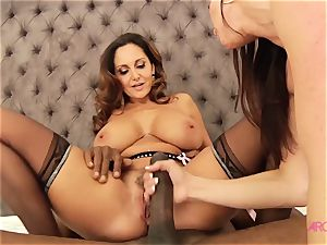 mummy threeway with blacks. huge-titted chicks ready for hard-core