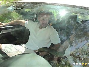 Hopeful driver Sara Luvv ravages her driving schoolteacher