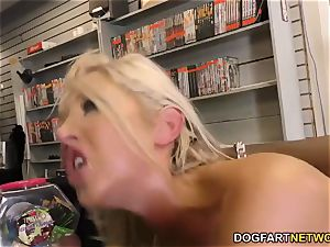 anal cockslut Lexi Lowe gets group-fucked in a vid store