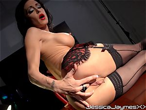 insane brown-haired Jessica Jaymes frigs her tasty twat pie in her office