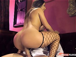 Stripper Abella Danger stretches her gams for Danny Mountain