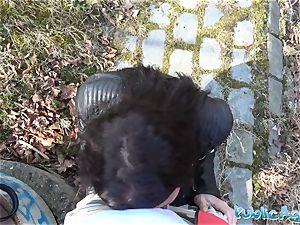 Public Agent Russian waitress plumbed outside in public