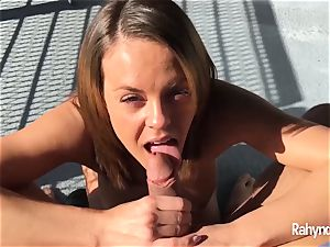 Rahyndee James dark-haired stunner oral job arched Over Balcony
