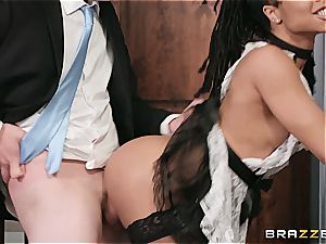 super-steamy ebony maid nearly get caught