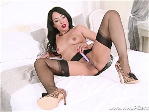 molten ebony stunner strokes off playing in nylons girdle high-heeled shoes