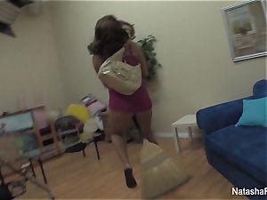 wondrous Natasha plays and wanks on set