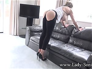 meaty hooter mature female Sonia cleaning and nip torment