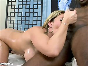 yankee housewife milking a thick chunk of dark-hued meat