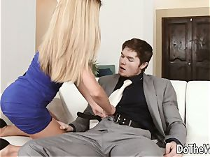 red-hot blond wifey Subil bend tears up in front of hubby
