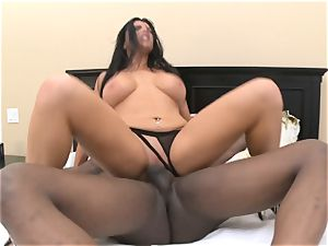 Romi Rain takes fat black wood in her moist crevice