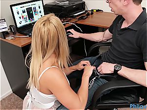 sister gives head to nerdy stepbro while he's toying games