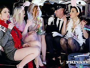 party girls slurp the driver's yam-sized man rod