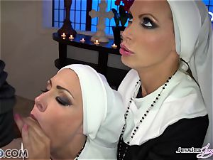 two chesty chaste nuns Jessica Jaymes & Nikki Benz take their abbot firm lollipop
