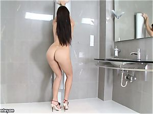 amazing Aletta Ocean adds some shine to her figure