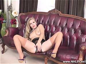 ash-blonde disrobes off lingerie and solos in nylons and heels