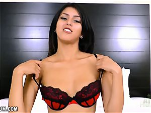 Sophia Leone in super-fucking-hot crimson lingerie