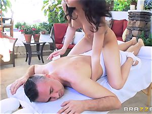Ariana Marie railing on top of Keiran Lee