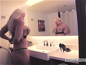 meaty bap blondie Alura Jenson ravaging a nervous client