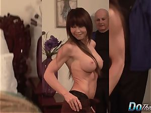 beautiful Jenla Moore plows while her hubby observes