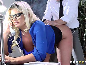 big-titted Julie Cash fucked via her work desk