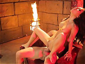Asa Akira gets her super hot lips round a large long fuckpole