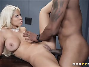 Bad ass Bridgette B smashed by a pulsating black chisel