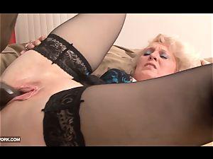 black shaft longing for grannie in hard-core bi-racial