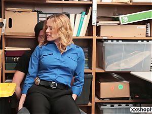 molten ash-blonde LP Officer Krissy Lynn gets poke by a Shoplifter