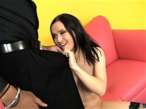large dark pipe eases into Ally Styles humid super-hot pussyhole