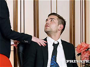 horny office stunner Aria eats on her chief' fuck-stick