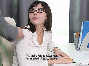 Nerdy nubile licking rock-hard on her knees
