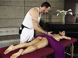 small Gina Valentina gets well-lubed up and massaged