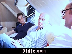 six oldman ravaging in gang a beautiful sizzling blonde