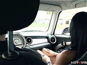 super-naughty gf splooging in his car