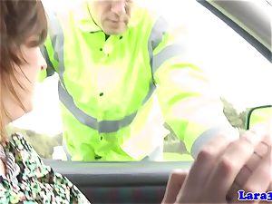 Caught tugging mature plumbs patrol cop