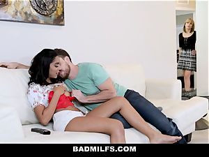 BadMILF - Jealous Stepmom three way With Stepson And girlfriend