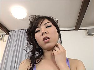 huge-boobed Jap gets her tights and cunny torn