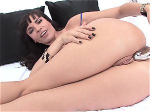 superstar Dana stretches her backdoor with a huge toy