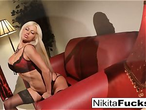 Nikita's ebony and red undergarments solo