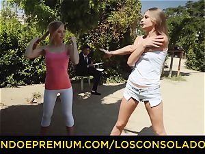 LOS CONSOLADORES - red-hot blondes share rigid lollipop in 3