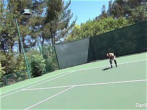 bra-less tennis with Dani Daniels and Cherie DeVille