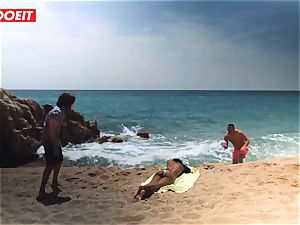 LETSDOEIT - red-hot black teen fucked rock hard At The Beach