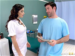 nut sack busting nurse Karlee Grey wanks hard-on with ease