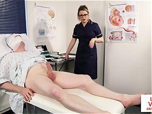 Bossy voyeur nurse trains patient to jack