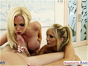 Tasha Reign and Nikki Benz enjoy his thick member inside them